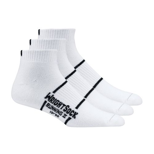WrightSock Double Layer Running II Low 3 pack Sock - White L