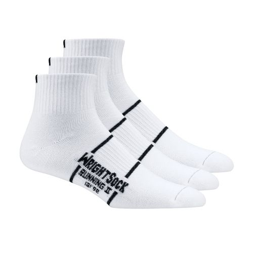 WrightSock Double Layer Running II Qtr 3 pack Sock - White L