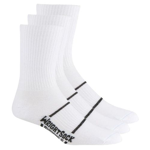 WrightSock Running II Crew 3 pack Socks - White M
