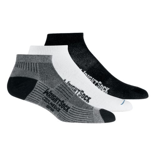 WrightSock Double Layer CoolMesh II Low Cut 3 pack Socks - Ash/White/Black L