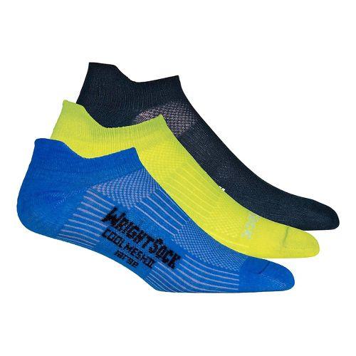 Wrightsock Cool Mesh II No Show Tab 3 pack Socks - Neon Yellow/Electric L