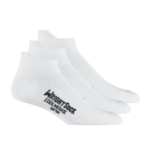 WrightSock Double Layer CoolMesh II No Show Tab 3 pack Socks - White L