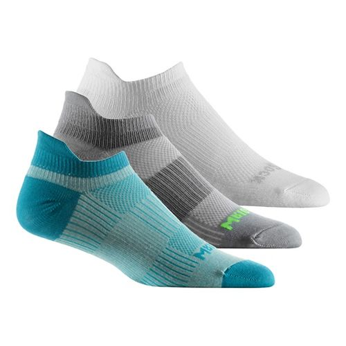 Wrightsock Cool Mesh II No Show Tab 3 pack Socks - Neon Yellow/Plum S