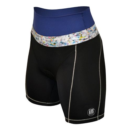 Womens De Soto Forza Riviera Tri Fitted Shorts - Black/Navy M