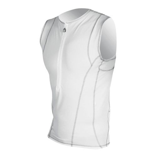 Mens De Soto Forza Tri Jersey Sleeveless Technical Tops - White XS