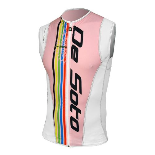 Mens De Soto Riviera Tri Jersey Sleeveless Technical Tops - Italia Pink XL