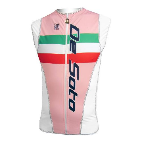 Mens De Soto Riviera Tri Jersey Sleeveless Technical Tops - Pink Italia Stripe L