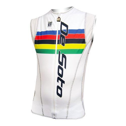 Mens De Soto Riviera Tri Jersey Sleeveless Technical Tops - White Rainbow Stripe L