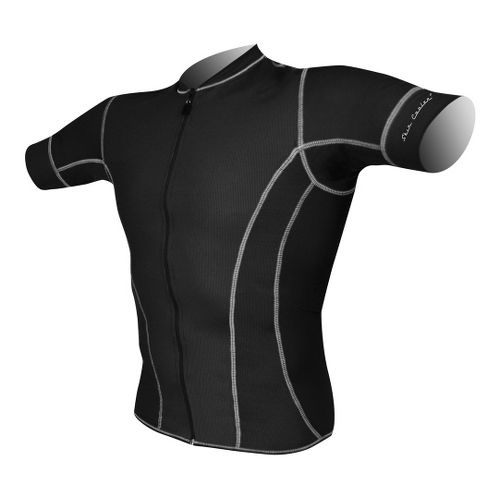 Mens De Soto Riviera Tri Jersey - Short Sleeve Technical Tops - Black XL