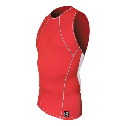 Mens De Soto Carrera Tri Top Singlets Technical Tops - Red/White L