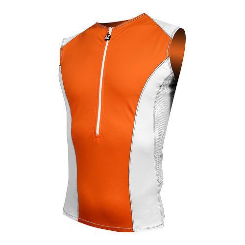 Mens De Soto Carrera Tri Jersey Sleeveless Technical Top - Orange/White L