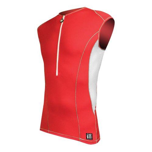 Mens De Soto Carrera Tri Jersey Sleeveless Technical Top - Red/White XL
