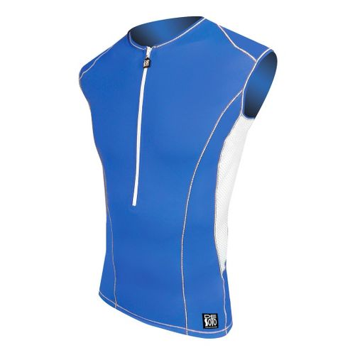 Mens De Soto Carrera Tri Jersey Sleeveless Technical Top - Royal/White M
