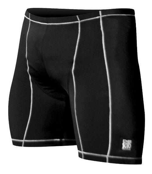 Mens De Soto Carrera Tri Fitted Shorts - Black/White S