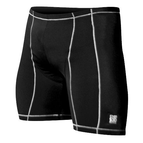 Mens De Soto Carrera Tri Fitted Shorts - Black/White L