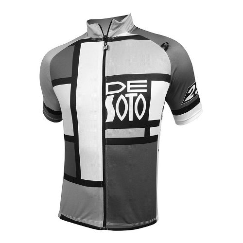 Mens De Soto Skin Cooler Bike Jersey Short Sleeve Technical Tops - Mondrian Grey L ...