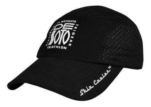 De Soto Skin Cooler Run Cap w/ Pocket Headwear - Black
