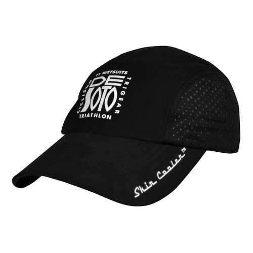 De Soto Skin Cooler Run Cap w/ Pocket Headwear - Black
