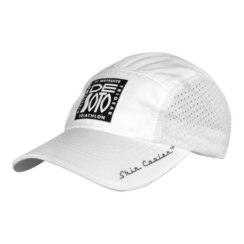 De Soto Skin Cooler Run Cap w/ Pocket Headwear - White