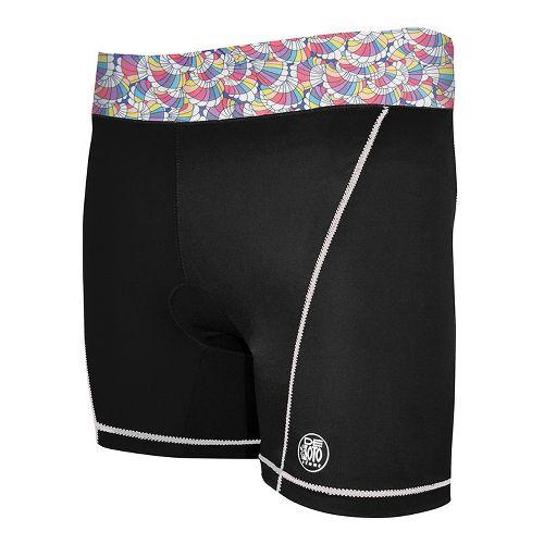 Womens De Soto Femme Carrera Tri Fitted Shorts - Black/Print S