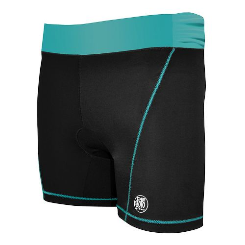 Womens De Soto Femme Carrera Tri Fitted Shorts - Black/Fiji Teal M