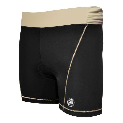 Womens De Soto Femme Carrera Tri Fitted Shorts - Black/Courageous Khaki XS