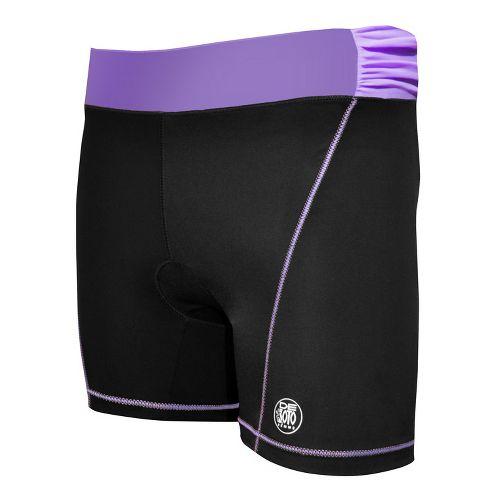 Womens De Soto Femme Carrera Tri Fitted Shorts - Black/Powerful Purple L
