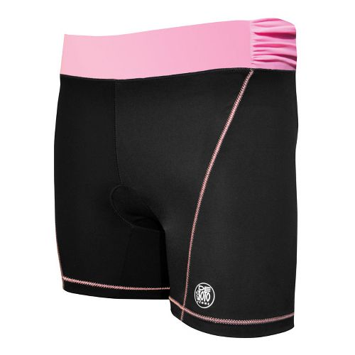 Womens De Soto Femme Carrera Tri Fitted Shorts - Black/Passionate Pink XS