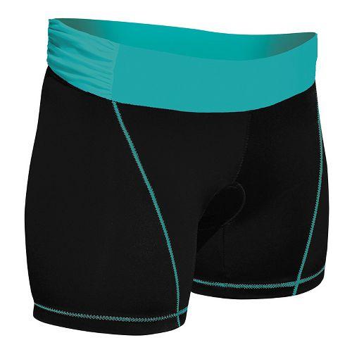 Womens De Soto Femme Carrera Tri Low-Rise Fitted Shorts - Black/Fiji Teal XS