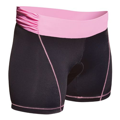 Womens De Soto Femme Carrera Tri Low-Rise Fitted Shorts - Black/Passionate Pink S