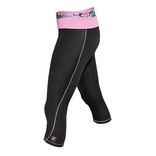 Womens De Soto Femme Carrera Tri Half Fold Band Capri Tights - Black/Passionate Pink S ...