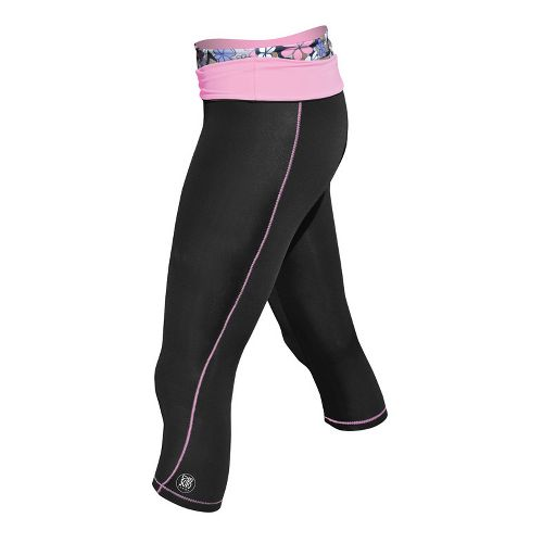 Womens De Soto Femme Carrera Tri Half Fold Band Capri Tights - Black/Passionate Pink XL ...