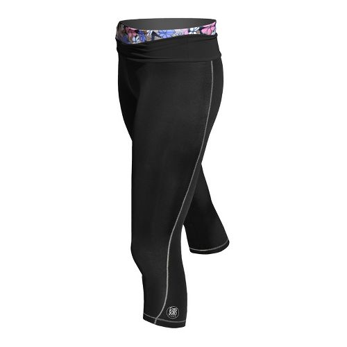 Womens De Soto Femme Carrera Tri Half Fold Band Capri Tights - Victorious Black/Print L ...