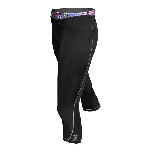 Womens De Soto Femme Carrera Tri Half Fold Band Capri Tights - Victorious Black/Print XL ...