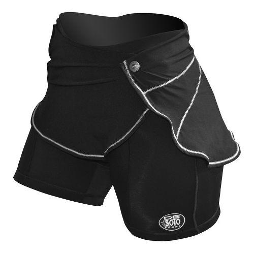 Womens De Soto Femme Carrera Tri Skirt Wrap Fitted Shorts - Black XS