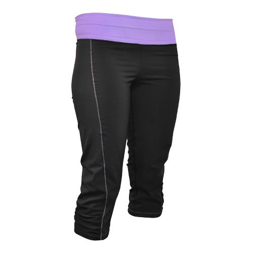 Womens De Soto Femme Run Capri Tights - Black/Powerful Purple L