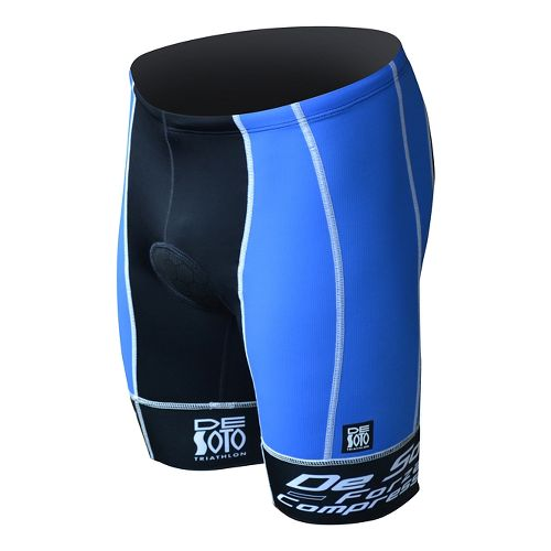 Mens De Soto Forza Tri Fitted Shorts - Royal/Black S