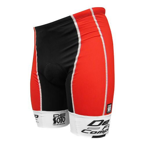Mens De Soto Forza Tri Fitted Shorts - Red/White Print L