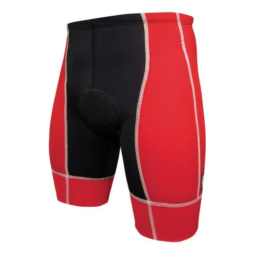 Mens De Soto Forza Tri Fitted Shorts - Red/White L