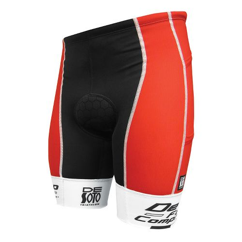 Mens De Soto Forza Tri 4-Pocket Fitted Shorts - Red/White Print M