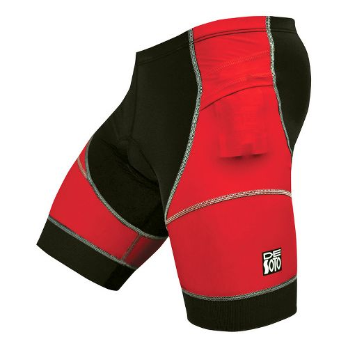Mens De Soto Riviera Tri Fitted Shorts - Red/Black L