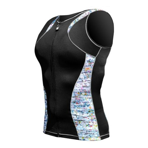 Womens De Soto Femme Riviera Tri Jersey Sleeveless Technical Tops - Black/Print L