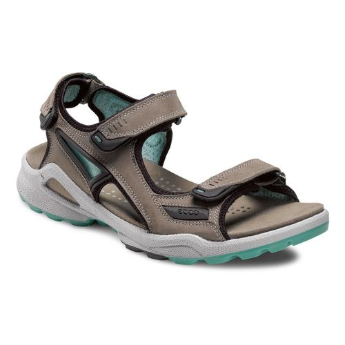 Womens Ecco USA Biom Terrain Sandal-Chiappo Sandals Shoe - Warm Grey/Emerald 38
