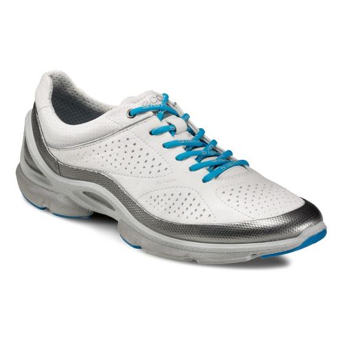 Womens Ecco USA Biom EVO Trainer Plus Running Shoe - Silver Metallic/White 38