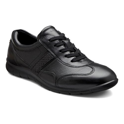 Womens Ecco USA Babett Premium Tie Casual Shoe - Black/Black 37