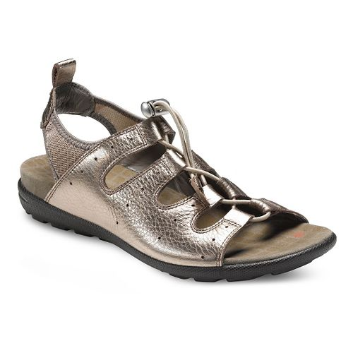Womens Ecco Jab Toggle Sandals Shoe - Warm Grey Metallic 40