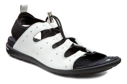 Womens Ecco Jab Toggle Sandals Shoe - White/Black 42