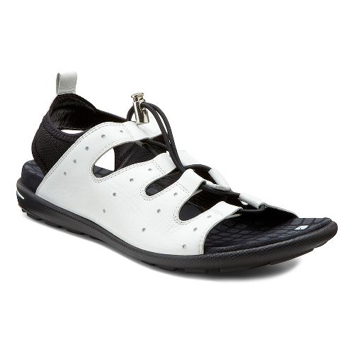 Womens Ecco USA Jab Toggle Sandals Shoe - White/Black 38