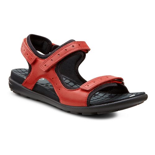 Womens Ecco USA Jab Strap Sandals Shoe - Chili Red/Black 36