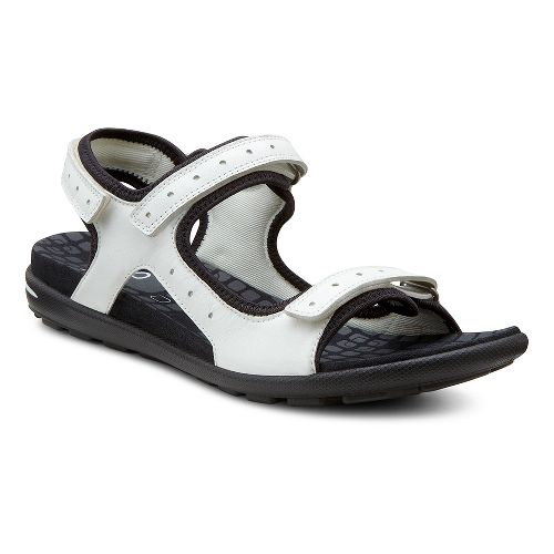 Womens Ecco USA Jab Strap Sandals Shoe - White/Black 38